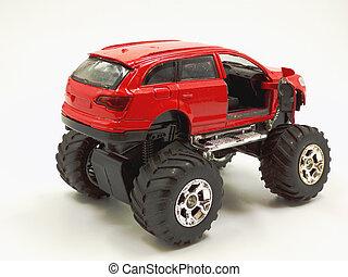 モンスター, 道, 自動車, 2020, 7, 離れて, sarov, russia-march, おもちゃ, 白, bigfoot, 競争, バックグラウンド。, 赤