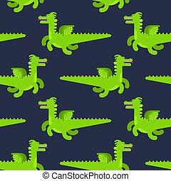 モンスター, seamless., パターン, 飛行, 手ざわり, ドラゴン, バックグラウンド。, ベクトル, 緑
