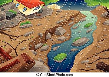 モンスーン, mudslide, 生じること, 雨, 洪水