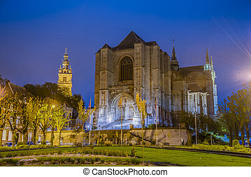 モンス, belgium., 聖者, waltrude, 教会