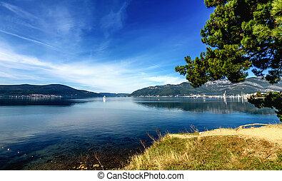 モンテネグロ, porto, 湾, boka, 背景, lustica, 半島, 美しい, lanscape