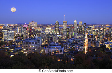 モントリオール, 秋, 夕闇, 航空写真, スカイライン, 光景