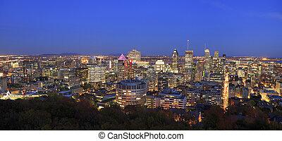 モントリオール, 航空写真, 夕闇, 光景, スカイライン