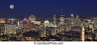 モントリオール, 航空写真, 秋, スカイライン, 夕闇, 光景