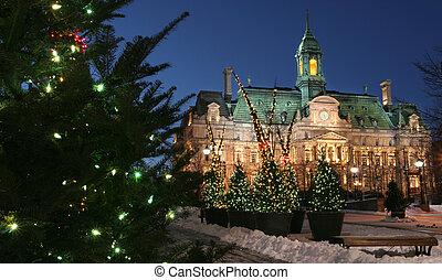 モントリオール, 都市, 冬, ホール, 夕闇