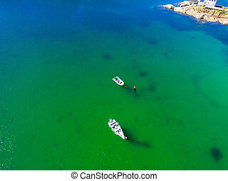 モーターボート, 航空写真, 美しい, 海岸線, 光景