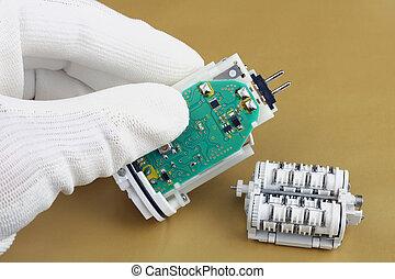 モーター, 修理, 機械, epilator-, 電池, 技術者, 使われた, エレクトロ, 装置