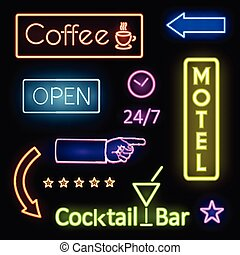 モーテル, ネオンライト, 白熱, サイン, カフェ