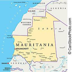モーリタニア, 政治的である, 地図