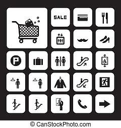 モール, セット, 買い物, アイコン