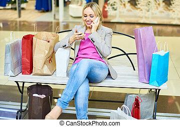 モール, 女性買い物, 若い