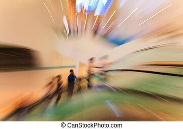 モール, 現代, 買い物, エスカレーター, 人々
