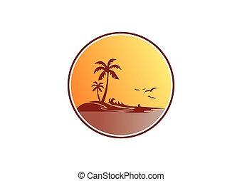 ヤシの木, 浜, 日没, 抽象的, ベクトル, ロゴ