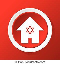 ユダヤ人, 家, 赤, アイコン