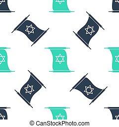 ユダヤ人, scroll., シンボル。, スクロール, book., パターン, アイコン, seamless, 単純である, david, 古い, バックグラウンド。, 羊皮紙, 星, ベクトル, 白, 拡大された, form., 緑, torah, 隔離された