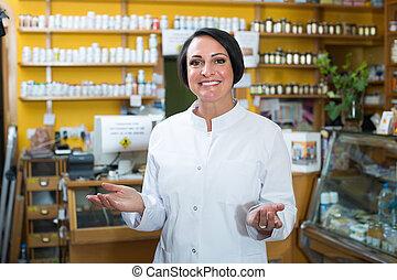 ユニフォーム, 地位, 女, 店, 薬, 売り手