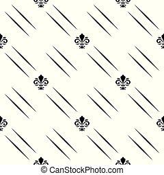 ユリ, ライン, 現代, 装飾, seamless, 対角線, ベクトル, 黒, 幾何学的, pattern., 白, 皇族