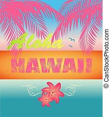 ユリ, 海洋, 袋, 葉, t, ネオン, ピンク, ファッション, ワイシャツ, パーティー, ポスター, 印刷, 日没, 夏, aloha, ハワイ, 浜, やし, レタリング, ココナッツ, デザイン