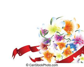 ユリ, 花束, 明るい, 多彩