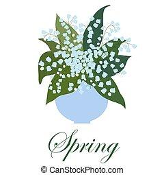 ユリ, 花束, 葉, つぼ, バックグラウンド。, 白