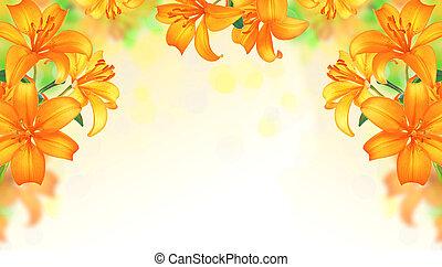ユリ, 花, 夏, ボーダー, design.
