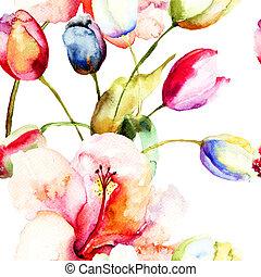 ユリ, 花, 絵, 水彩画, チューリップ