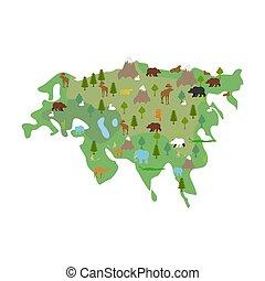 ユーラシア, 植物相, 地図, ベクトル, 動物動物相, plants., 大陸, mainland.