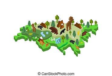 ユーラシア, 等大, 植物相, 地図, ベクトル, 動物動物相, plants., mainland.