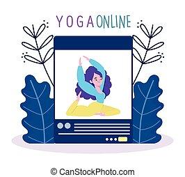 ヨガ, オンラインで, ウェブサイト, セッション, コーチ, 訓練, 適用