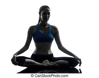 ヨガ, シルエット, 女性が瞑想する, 運動
