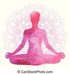 ヨガ, シルエット, 水彩画, リラックス, 練習する, meditation.