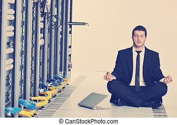 ヨガ, ネットワーク, ビジネス, 練習, サーバー, 人, 部屋