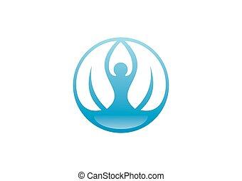 ヨガ, 人々, ベクトル, ロゴ, 瞑想, 葉