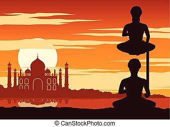ヨガ, 能力を発揮しなさい, yogi, インド, 有名, 日没, 時間, ランドマーク, mahal, 呼ばれる, taj