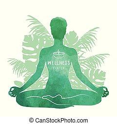 ヨガ, concept., シルエット, 瞑想, 水彩画, リラックス, 練習する