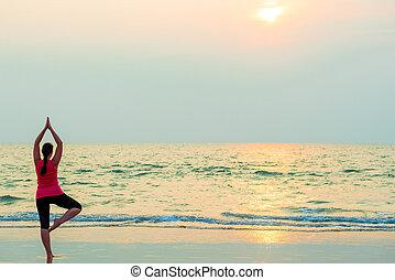 ヨガ, leg., ほっそりしている, 1(人・つ), バランスをとる, 女の子, 浜