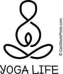 ヨガ, logotype., ベクトル, 健康, minimalistic, ロゴ