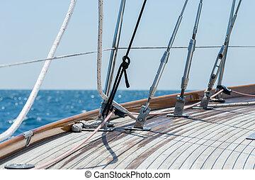 ヨット, そして, a, 美しい, 光景, ∥で∥, 青い空, 背景