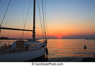 ヨット, ∥において∥, 日没