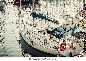 ヨット, カタロニア, vell, 港, barcelona.