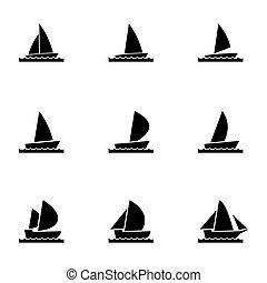 ヨット, ベクトル, セット, アイコン