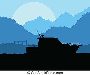ヨット, ボート, ベクトル, 航海, 背景