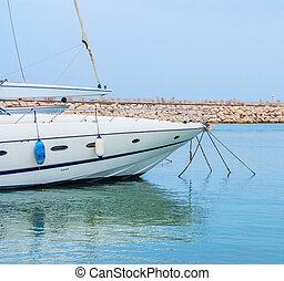 ヨット, 中に, ∥, 港, 地位, 上に, ∥, 錨