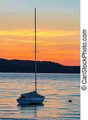 ヨット, 夜明け, 湖