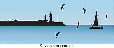 ヨット, 灯台, 波止場, 風景