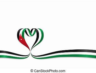 ヨルダン人, ribbon., 心の形をしている, illustration., 旗, ベクトル