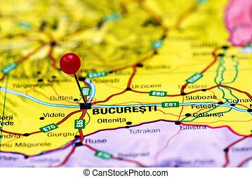 ヨーロッパ, くぎ付けにされた, 地図, bucharest