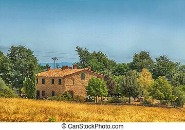 ヨーロッパ, のどかな, イタリア, 農家, tuscan, 田園 景色