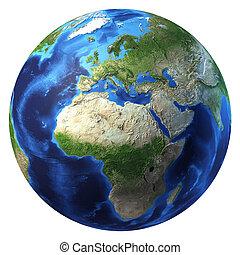 ヨーロッパ, アフリカ, いくつか, clouds., 惑星地球, ビュー。