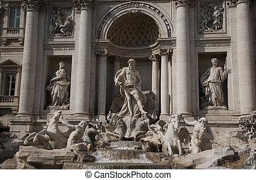 ヨーロッパ, イタリア, 海王星, 噴水, ローマ, trevi